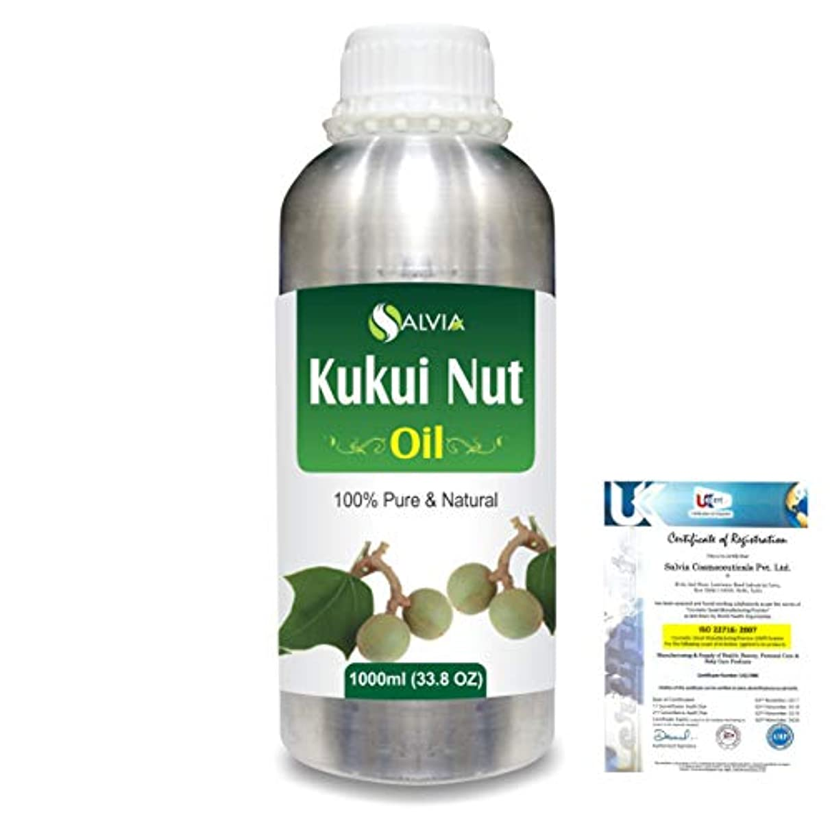 誓約評価するぼろKukui Nut (Aleurites Moluccans) Natural Pure Undiluted Uncut Carrier Oil 1000ml/33.8 fl.oz.