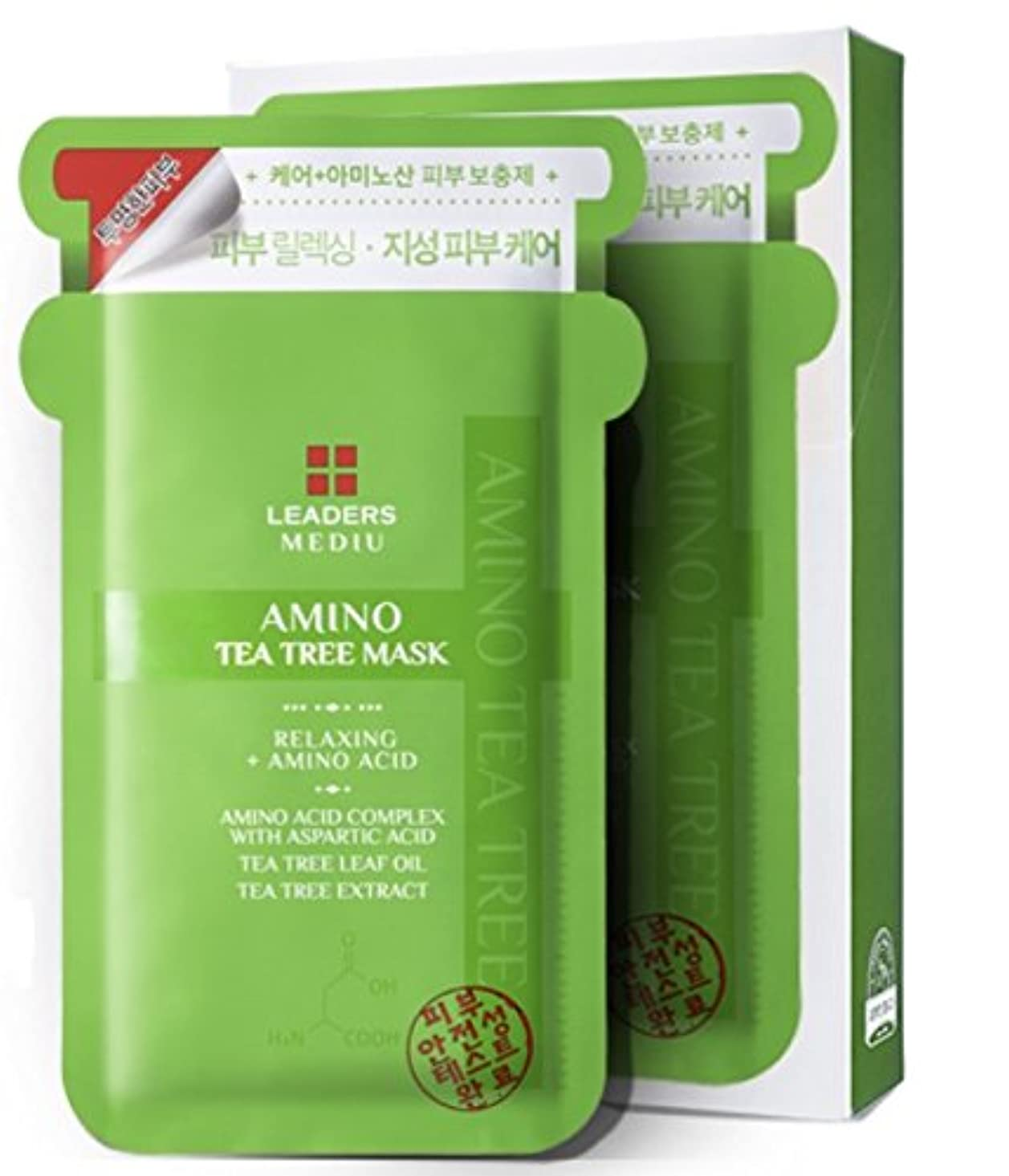[LEADERS] リーダーズメディ有アミノティーツリーマスク 25ml x10枚 (LEADERS MEDIU Amino Tea Tree Mask 25mlx10ea) [海外直送品]