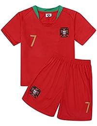 サッカー2018  ポルトガル代表 ユニフォーム 上下セット ロナウド 背番号7 RONALDO 子供用 (子供M,ロナウド) (M)
