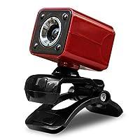 HD Webカメラ 回転可能 720P USB コンピューターカメラ マイク付き デスクトップまたはノートパソコン用ウェブカメラ 通話と録画用 レッド