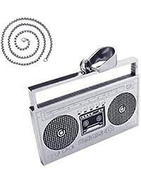 ヴィンテージデザイン音楽ラジオテープペンダントネックレス24 cmステンレス鋼ロロチェーン