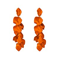 XIANGBAO-イヤリング シルバー針セクシーなバラの花びらの長いセクションイヤリング誇張気質フェイス薄型軽量ステートメントイヤリングの耳のペンダント (Color : Orange)