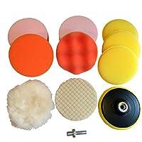 電動 カー ポリッシャー スポンジ バフ 10点 セット 選べる 3サイズ 80 / 100 / 125mm 短毛 ウールバフ つき(100mm)