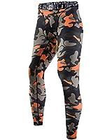 sillictor スポーツタイツ メンズ パワーストレッチ ロング アンダーウェア コンプレッション タイツ [UVカット + 吸汗速乾] 迷彩 オレンジ