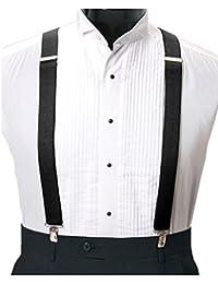 Aves Designsメンズ調節可能なクリップon Suspenders Inブラック1インチ( 2.5 CM )