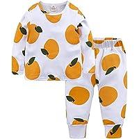 LUKEEXIN Kids Baby Pyjamas Baby Girls Sleepwear 100% Cotton Long Sleeve Fashion Cartoon Banana Fruit Pajamas
