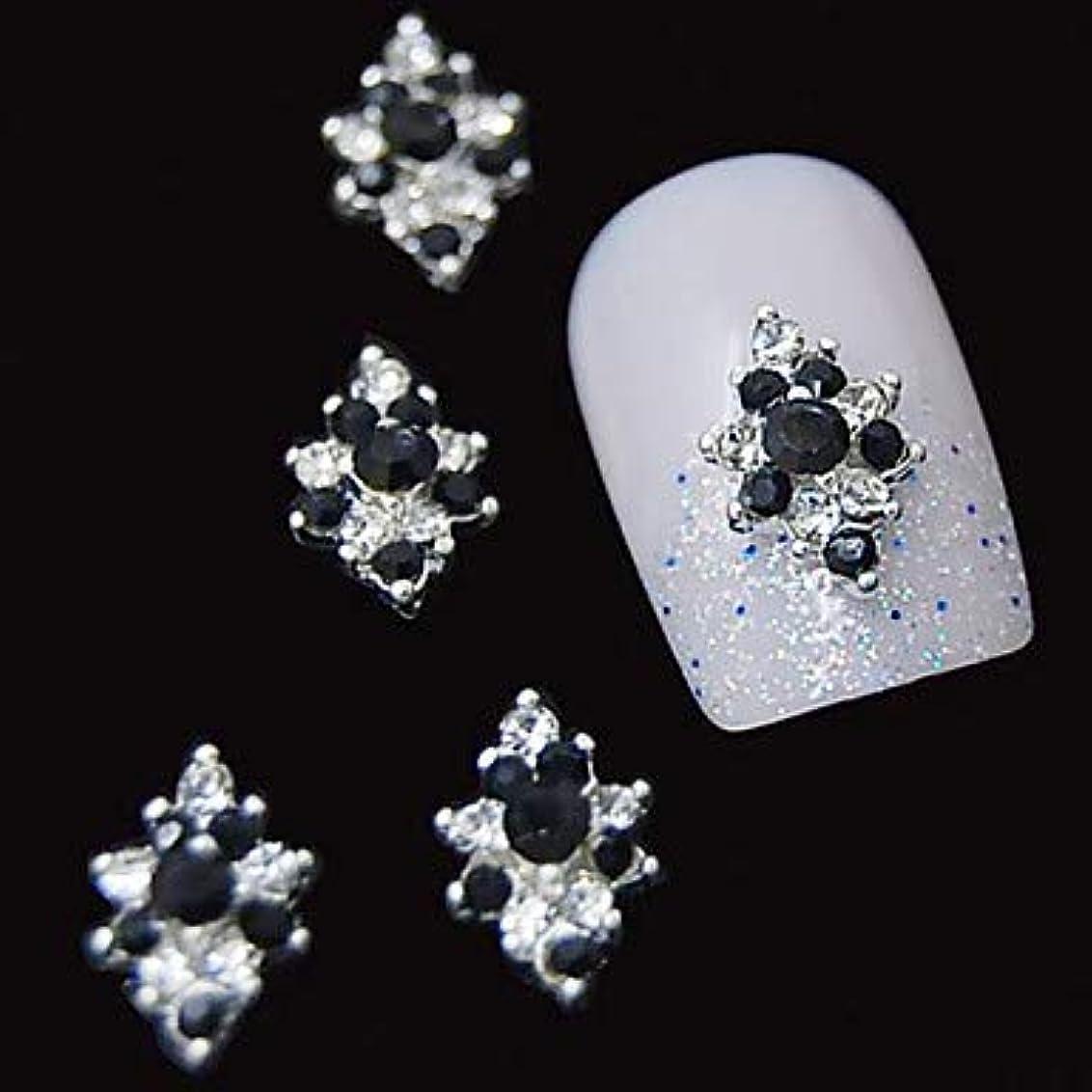 ダイアクリティカル黄ばむ定常10ピース3dブラックラインストーンダイヤモンドフラワーdiyアクセサリー合金ネイルアートデコレーション