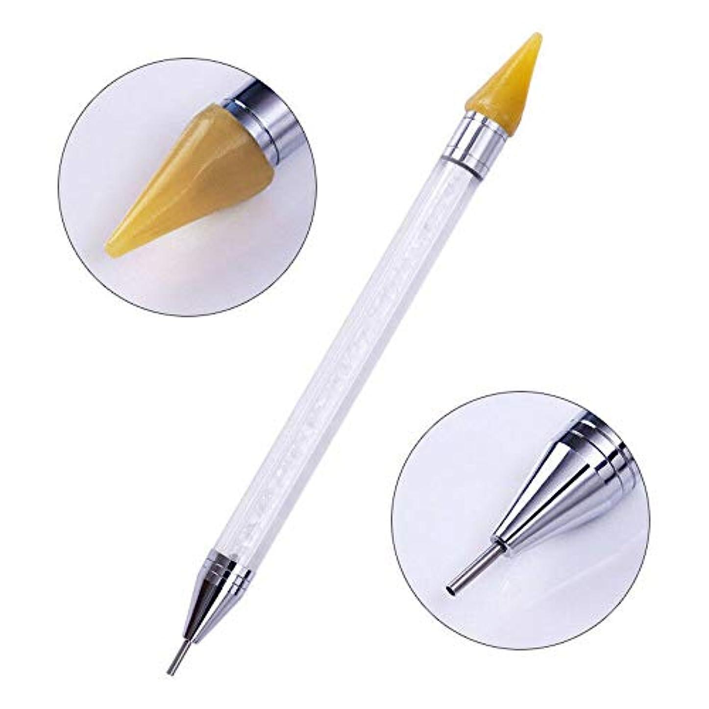ランチ財産玉FidgetGear ネイルアートラインストーンピッカーワックス鉛筆クリスタルビーズのハンドルデュアルエンドドットペン