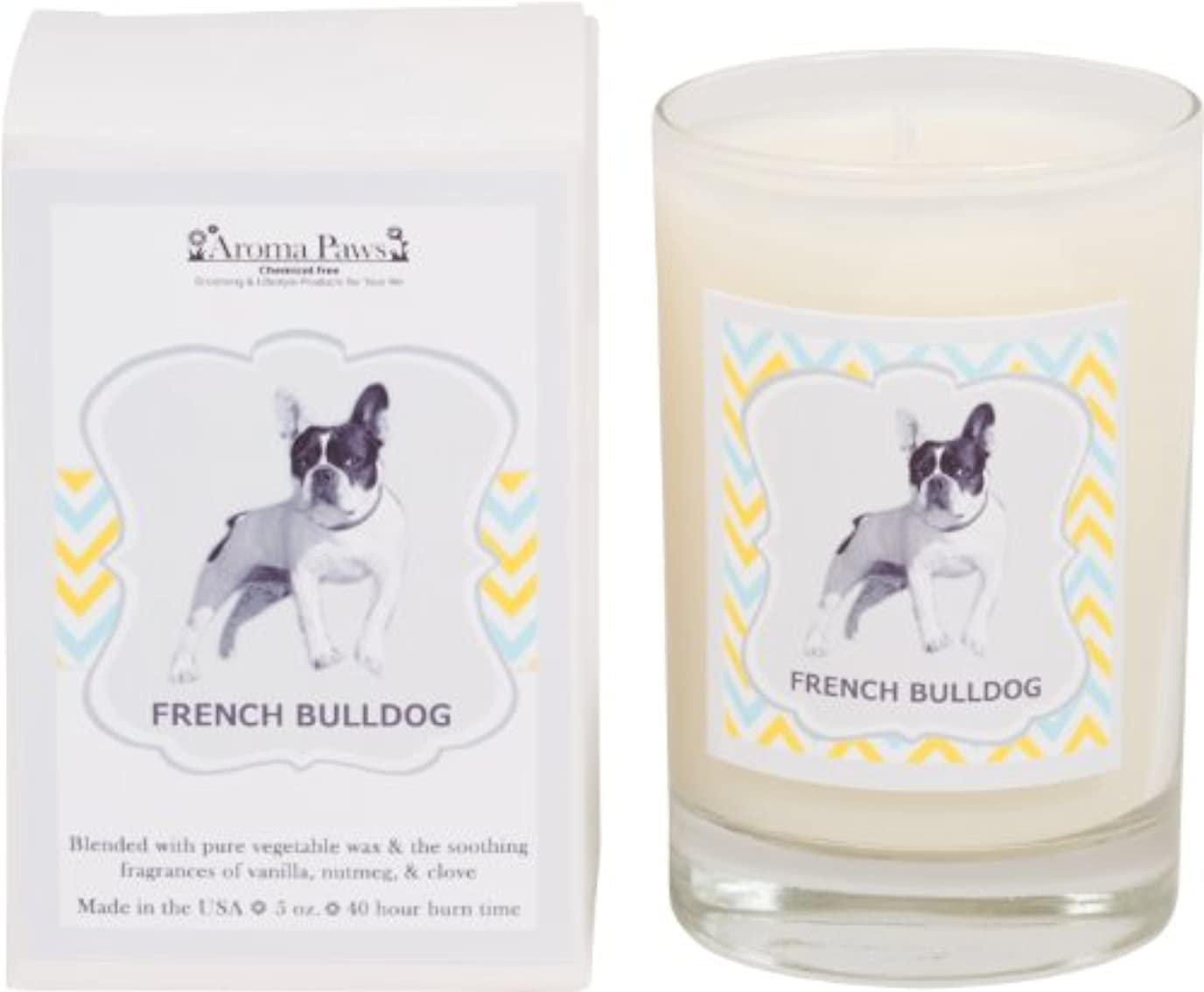 星知覚的七面鳥Aroma Paws Breed Candle in Glass with Gift Box, French Bulldog by Aroma Paws