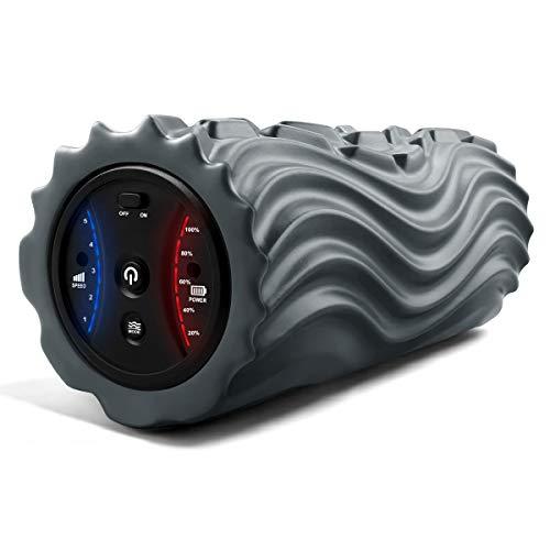 ストレッチローラー電動マッサージロール筋膜リリースフォームローラー電動ストレッチ専用3Dマッサージロール3種類凸凹波模マッサージ5段階振動速度べトレーニング(グレー)