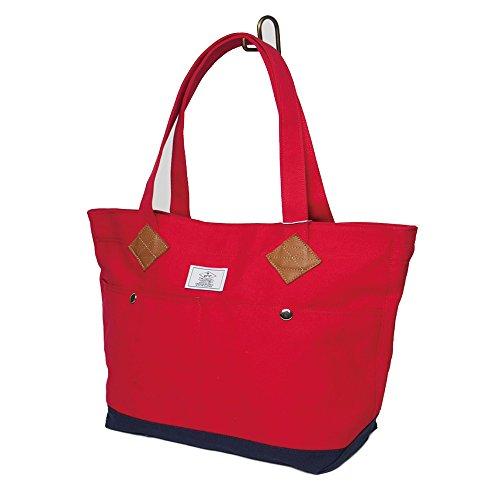 [ジーアールエヌ] GRN カジュアル キャンバス 本革 使用 トートバッグ カバン かばん 鞄 メンズ レディース ユニセックス A4 B4 A3 サイズ レッド