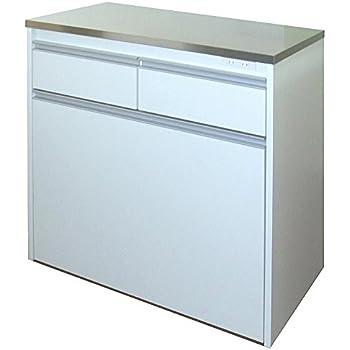 【室内設置サービス付き】家具製造直販TAICHI ヘアライン ステンレス天板 KC型3分別ダストボックス/ホワイト