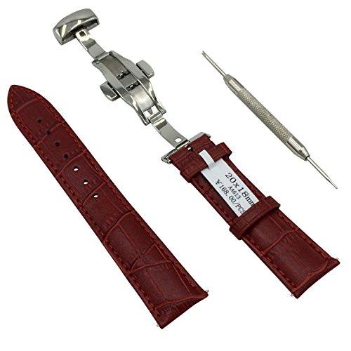 ワンプッシュ式 腕時計 バンド 本革 Dバックル 観音開き クロコダイル 型押し ベルト ばね棒はずし 付 (11 レッド 20mm)