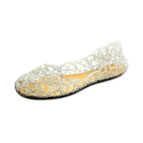 OCHENTA レディース 可愛い メッシュラバー きらきらラメ ソフトソール グラデーションラメ メッシュ フラットシューズ 女の子 レインパンプス ビーチサン シューズ サンダル 雨靴 シルバー 36