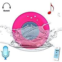 Bluetooth ワイヤレス スピーカー 吸盤式 防水 シャワースピーカー、ハンズフリー、ポータブル、内蔵マイク (赤)
