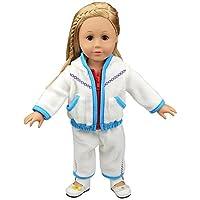 Theshy-dolls 服 厚手 ホワイト フリース パーカー パンツ アウトフィット ジャケット スーツ 18インチ人形 服 アクセサリーセット ブルー Theshy5421