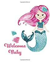 Welcome Baby Guest Book: Mermaid Guestbook with Wishes & Advice for Parents Rose Pink Seafoam Purple Under The Sea Mermaid Tail Guestbook, Gift Tracker Log + Keepsake Pages