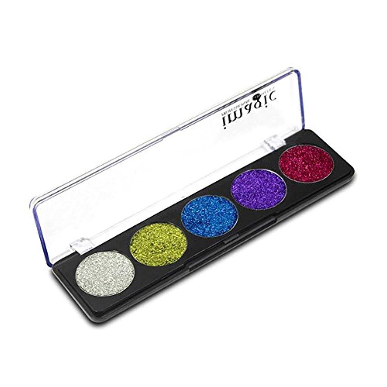 一掃する二層意図するAIMERKUP IMAGIC 5色ステージアイシャドウキラキラパウダースパンコール化粧品COS懐中電灯パウダーアイシャドウパレット