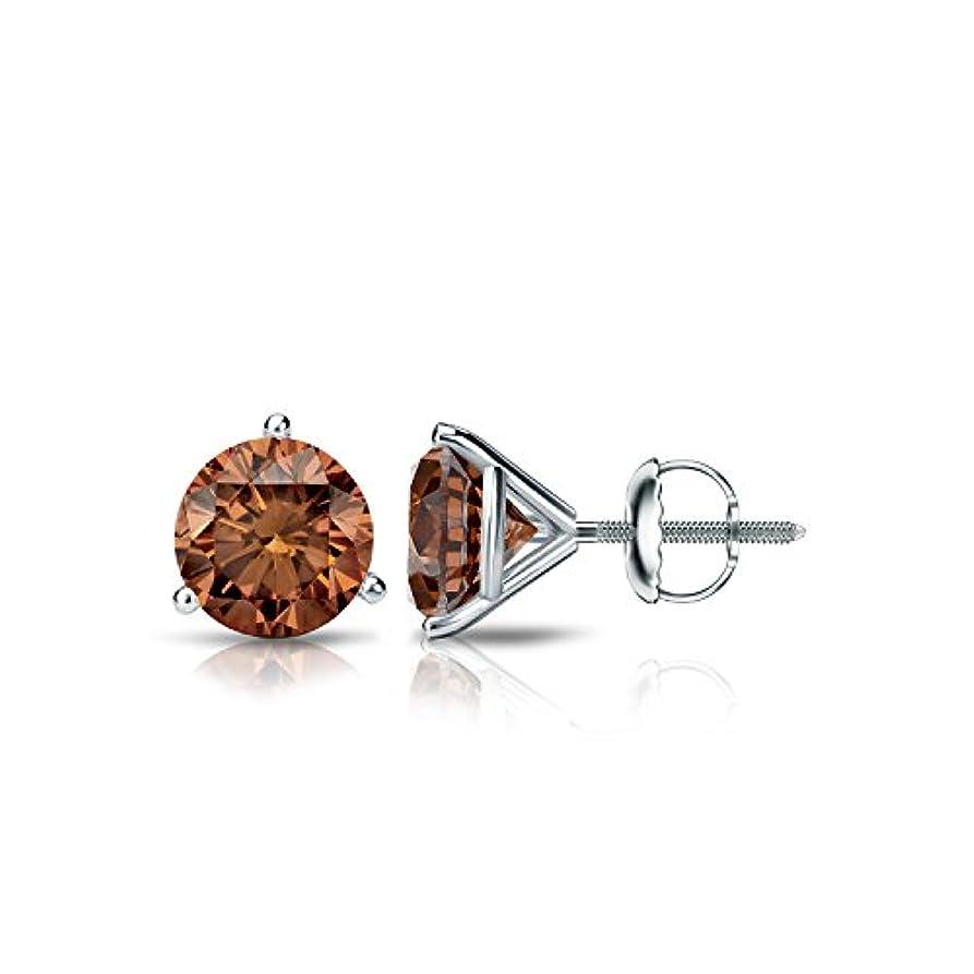 ホイッスル最大化するロマンスプラチナメンズラウンドブラウンダイヤモンド3-prong Martiniスタッドイヤリング( 1 / 4 – 2 ct、ブラウン、si2 ) screw-back