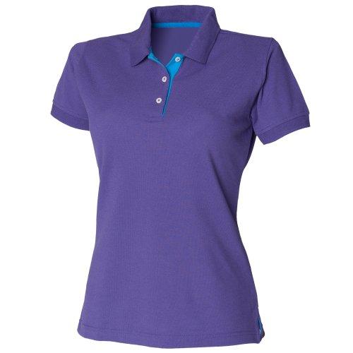 (ヘンブリー)Henburyレディーススリムフィットコントラストカラー半袖ポロシャツトップス半袖シャツ女性用(L)(紫/サファイア)