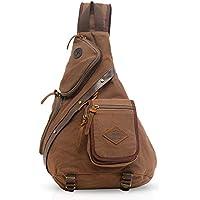 FANDARE Vintage Shoulder Backpack Cross Body Bag Sling Bag Chest Pack Bag Chest Strap Bag One Strap Messenger Bag Backpack Men/Women Cycling Hiking Camping Outdoor Travel Bag Canvas