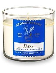 【Bath&Body Works/バス&ボディワークス】 アロマキャンドル アロマセラピー リラックス ラベンダー&シダーウッド Aromatherapy 3-Wick Scented Candle Relax Lavender...
