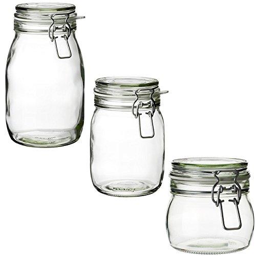 RoomClip商品情報 - IKEA KORKEN(コルケン) ふた付き容器 保存瓶 大・中・小3点セット 取り替え用のゴムパッキン5ピース付き