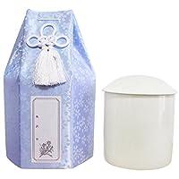 仏具 骨壷 小桜 六角 覆い袋つき 手元供養 ろうそく8本入り Cセット (3.5寸, ブルー)