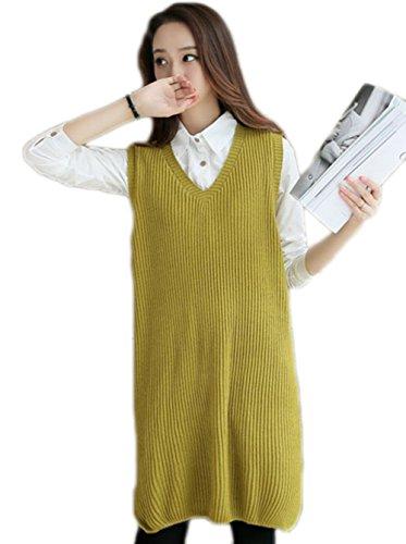 [해외]YiTong 롱 니트 베스트 여성 가을 ??옷 무지 심플 V 넥 롱 길이 민소매 니트 스웨터 니트 조끼 여성 풀오버 니트 탑 한국풍/YiTong Long knit vest Ladies autumn uniform plain simple V neck long length sleeveless knit sweater knit vest waist...