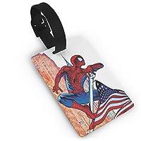 スパイダーマンとアメリカの国旗のスーツケースラベルバッグタグ旅行ID識別子手荷物タグ旅行アクセサリー