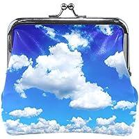 AOMOKI 財布 小銭入れ ガマ口 コインケース レディース メンズ レザー 丸形 おしゃれ プレゼント ギフト デザイン オリジナル 小物ケース 青空 雲柄