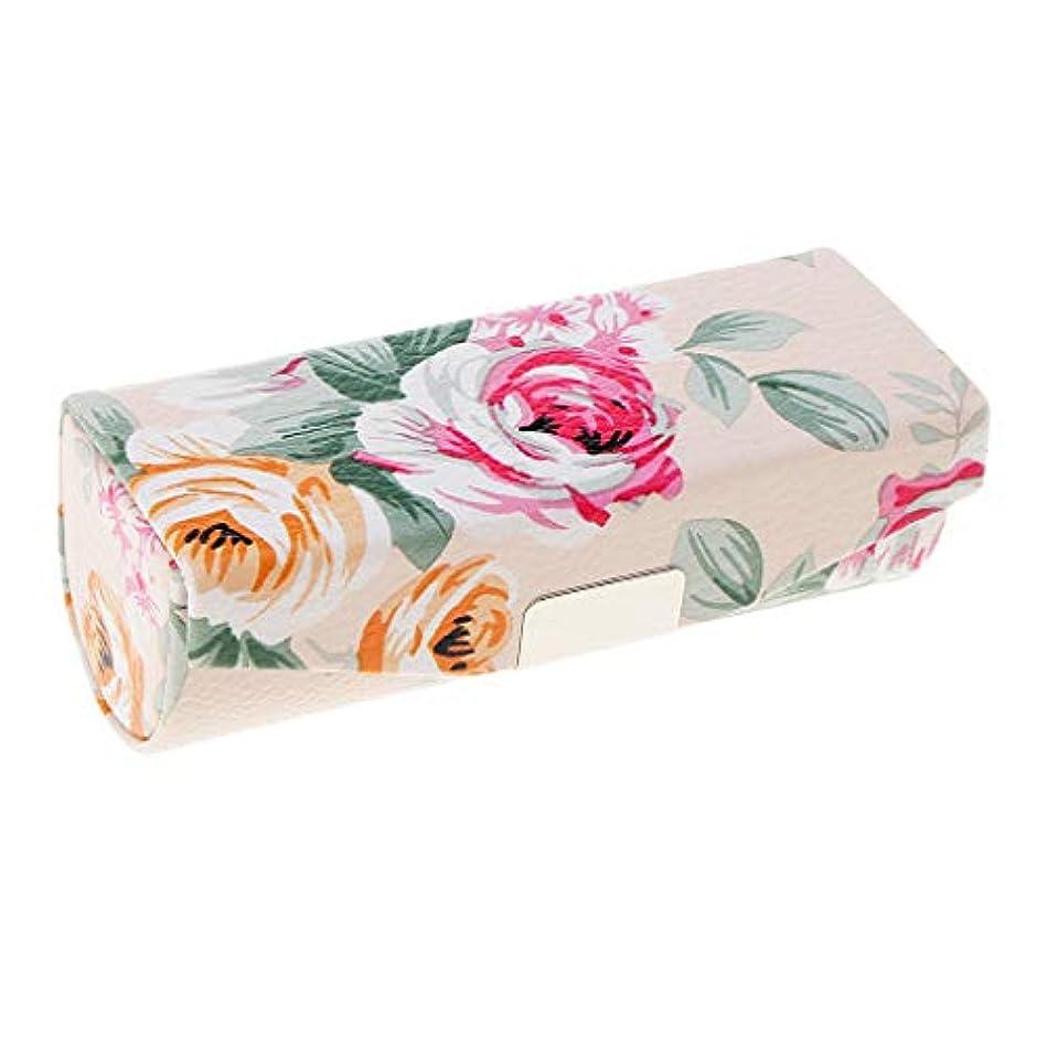 腹部行ぼかしT TOOYFUL ミラー付き口紅ケース、財布のための旅行サイズ、女性&女性のためのキャリングバッグ - ベージュ