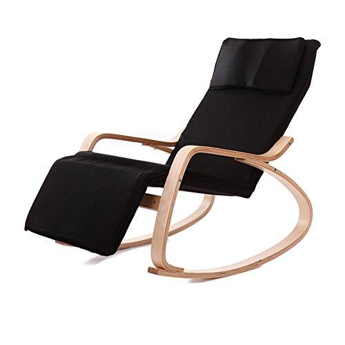 SAKEY ロッキングチェア リラックスチェア 揺れ椅子 5段階調節が可能 曲げ木 北欧風 枕付き ゆらゆらと心地よく揺れ (黒)