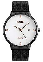 メンズクラシックシンプルブラックMilanese Mesh Band Watchアナログクォーツステンレススチール防水ビジネスカジュアル腕時計 Men's standard White Dial