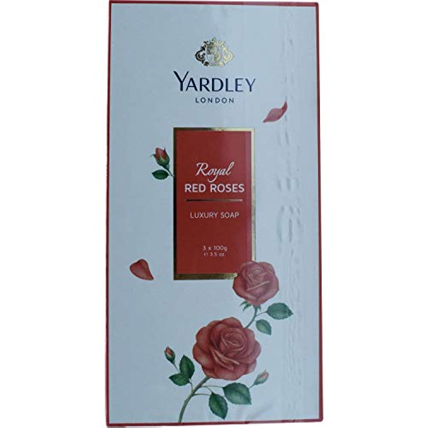 固執ピジン絶滅Yardley 1ロンドン赤バラ、3 x net wt。100 g e 3.5oz
