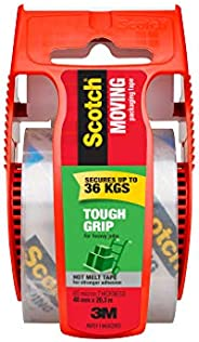 Scotch 150-AU Tough Grip Moving Packaging Tape, 48mm x 20.3m, Packs 150