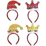 BESTOYARD 4本のクリスマスクラウンハットヘアフープ調節可能なヘッドバンドヘッドウェアクリスマスギフトパーティー用品
