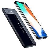 qi モバイルバッテリー MJUA Qi ワイヤレス充電 【ガラススクリーン】10000mAh 2 USBポート スタンド機能付 持ち運び 無線と有線両用 3台同時【18ヶ月間安心保証】 iPhone X / iPhone8/8Plus / Galaxy 8/8+ 各種他対応 (黒)