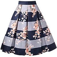 DJT FASHION Womens Vintage Pleated Skirt Floral A-line Printed Midi Skirts