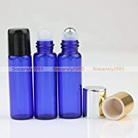 FidgetGear 2~100X Empty 1ml 2ml 5ml Glass Roll On Bottles Metal Roller Ball Essential Oils Pure Blue Small Black Lids