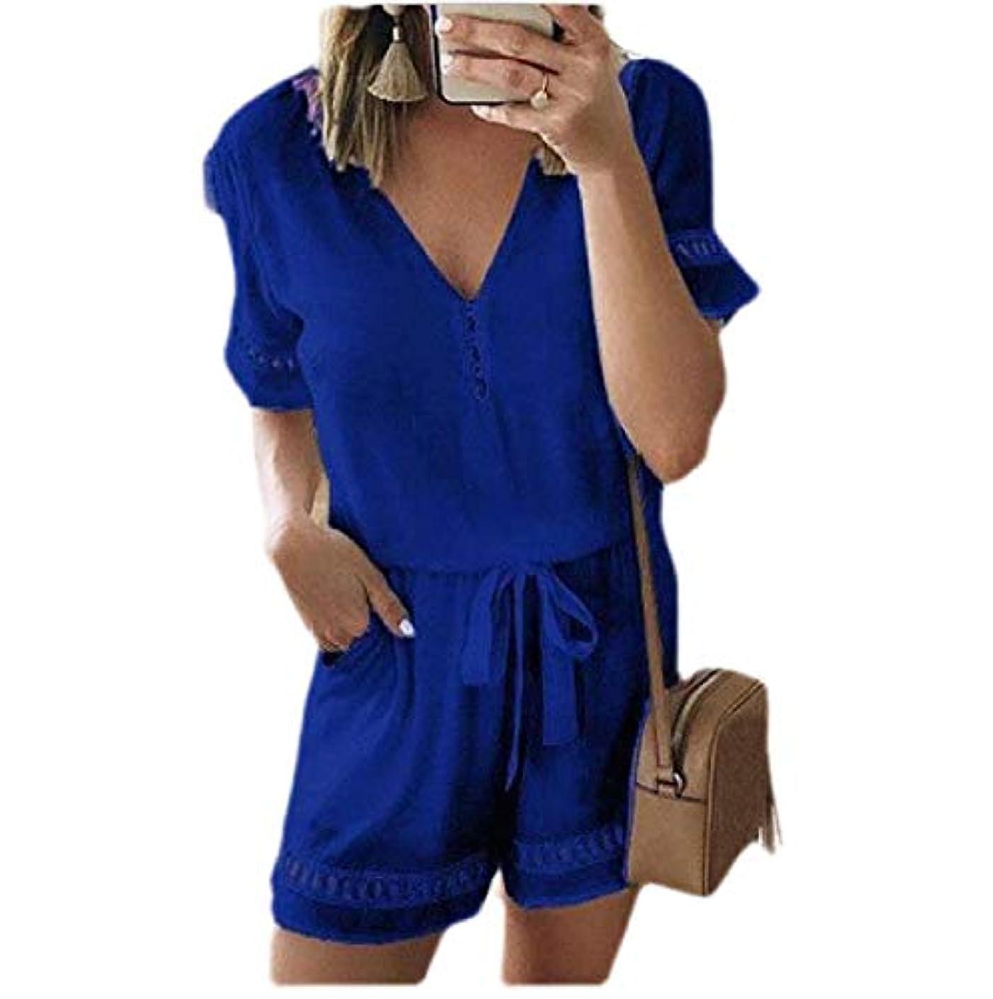 モーテル赤外線ティーンエイジャーMemories Love Women's V-Neck Chiffon Short Sleeve Shorts Casual Rompers Jumpsuit