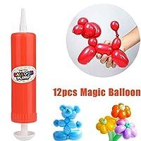 12個ラテックスツイストバルーンマジックLongバルーンカラーパーティーおもちゃ+ 1pcポンプ