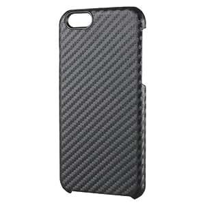 ELECOM iPhone6S iPhone6 シェルカバー カーボン調 ブラック PM-A14PVDBK