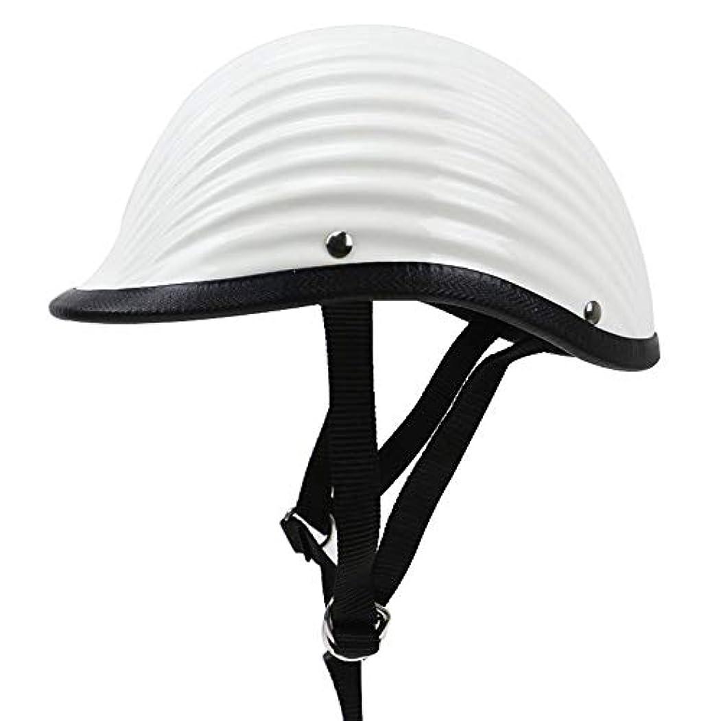 かすれた潜在的なセラフZXF ソリッドカラーハーレーオートバイメンズヘルメット電気自動車乗馬ハーフヘルメットレトロプリンスヘルメットスパイラルパターン女性 安全 (色 : White, Size : L)
