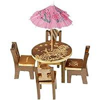 【ノーブランド 品】木製 テーブル 椅子 ミニチュア クラフト 風景 ダイニングルーム キッチン インテリア 風景 DIY インテリア