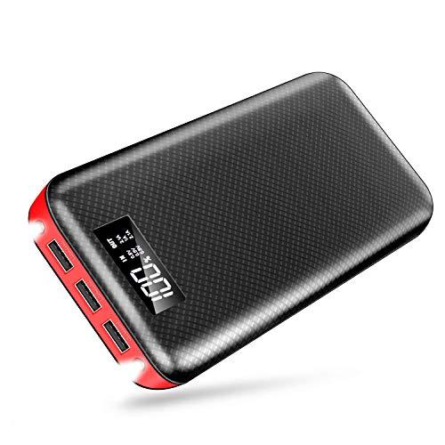 モバイルバッテリー 大容量 LCD残量表示 24000mAh スマホ充電器 急速充電 3USB出力ポート(2.1A+2.1A+1A) 持ち運び便利 防災 緊急用 旅行/出張/アウトドア活動などの必携品 iPhone/iPad/Android各種対応 (ブラック)