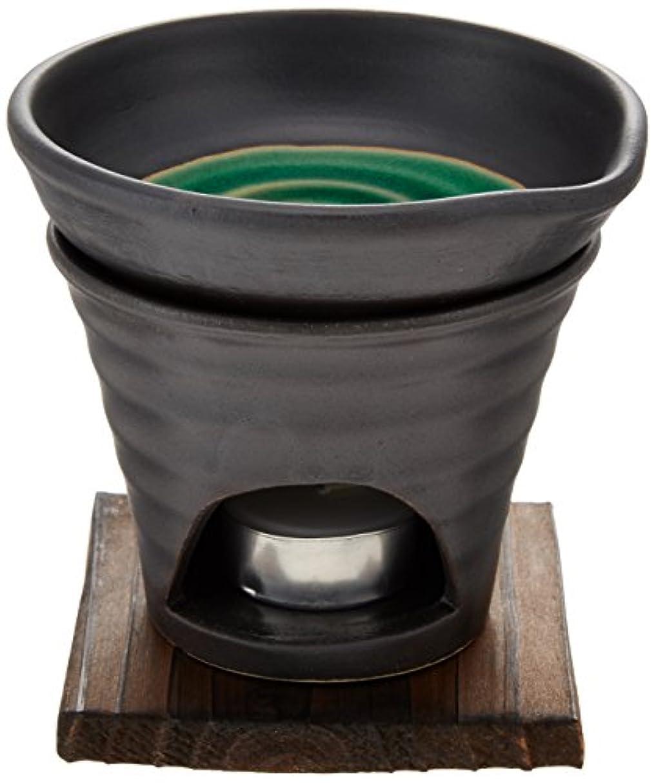 兵士時刻表親愛な香炉 黒釉 茶香炉(緑) [R11.8xH11.5cm] HANDMADE プレゼント ギフト 和食器 かわいい インテリア