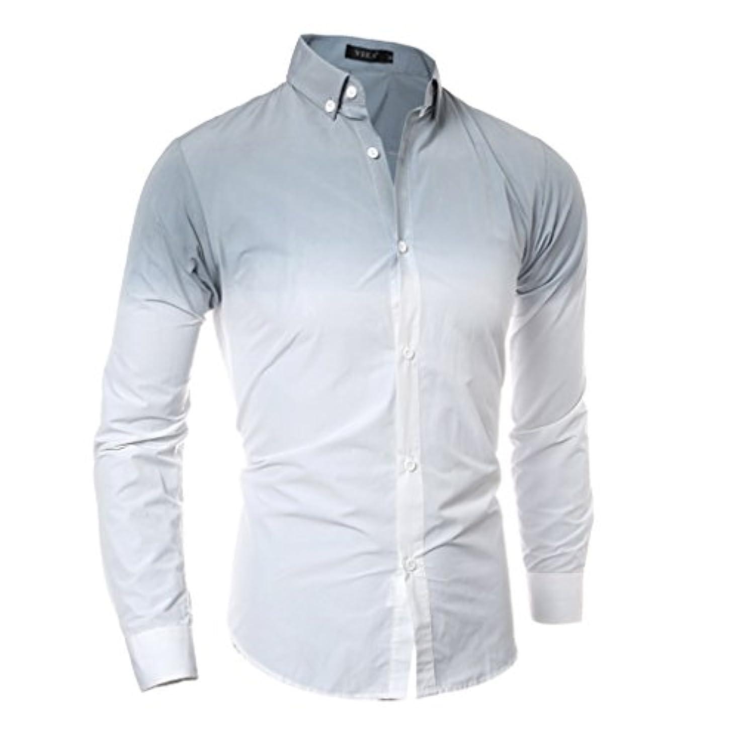 定常グラフ座標Honghu メンズ シャツ 長袖 グラデーション カジュアル スリム  グレー L 1PC