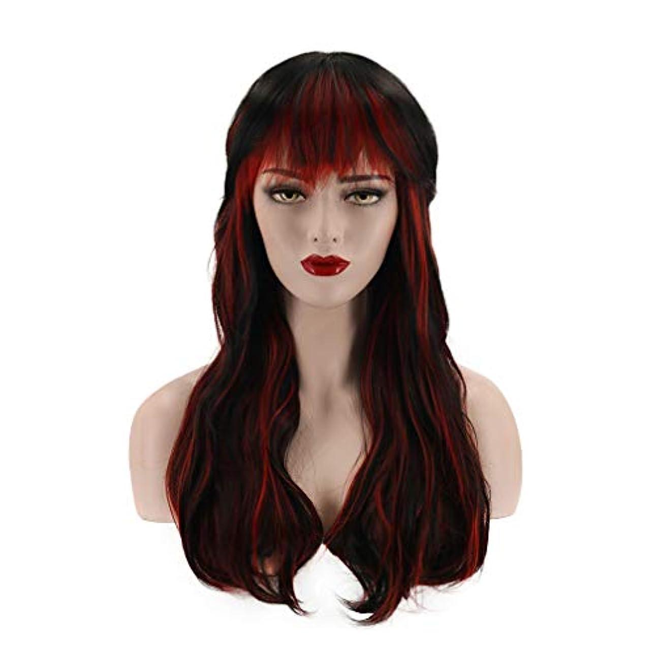 半島プレゼンター赤字女性ウィッグセクシーフルウィッグカーリー合成耐熱繊維ヘアウィッグナチュラルカラーデイリーアクセサリーグラデーション60cm
