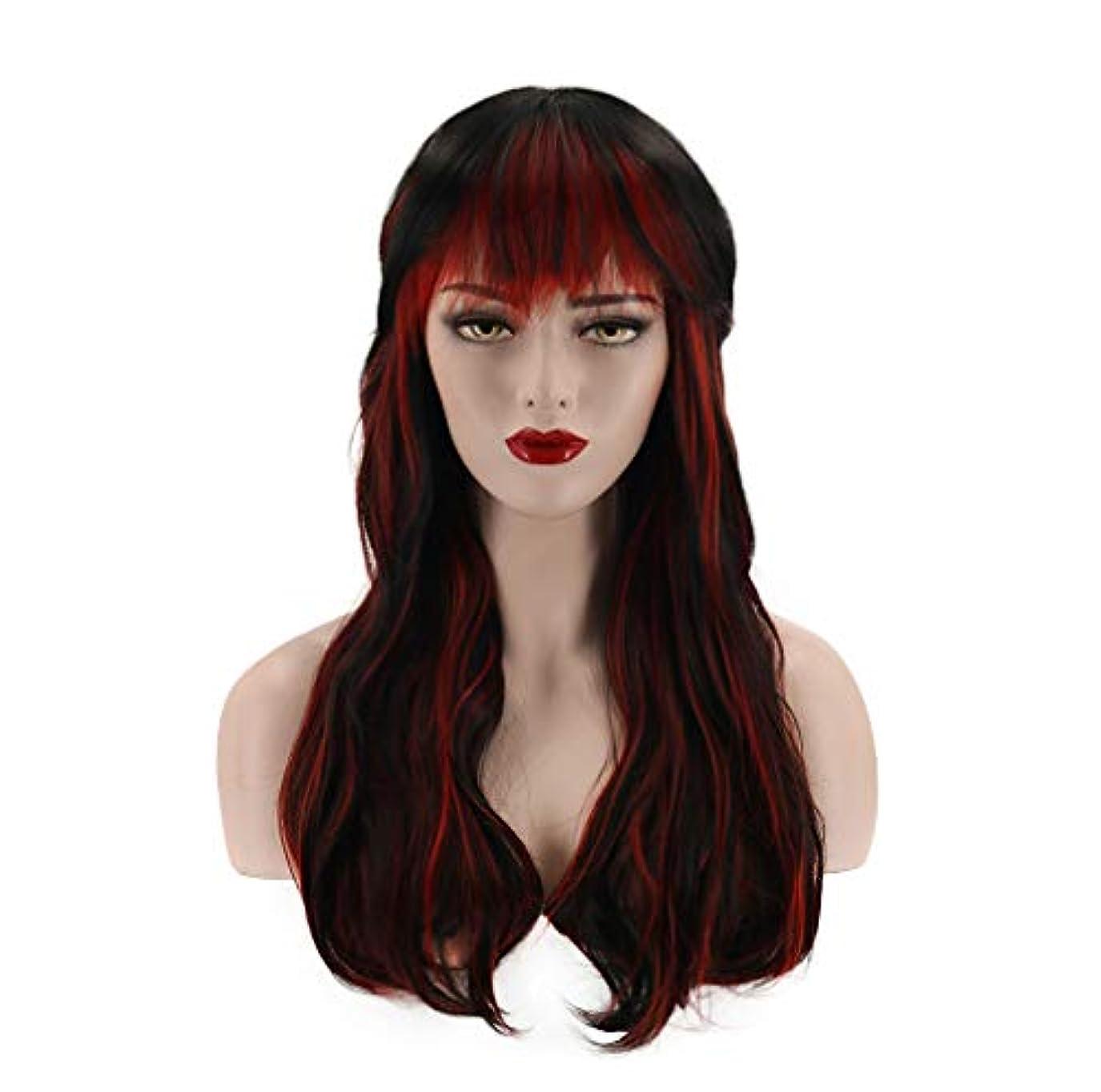 拘束する亜熱帯知的女性ウィッグセクシーフルウィッグカーリー合成耐熱繊維ヘアウィッグナチュラルカラーデイリーアクセサリーグラデーション60cm